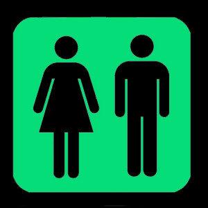 NIGHT SIGNS Luminous Unisex Toilet Room Sign