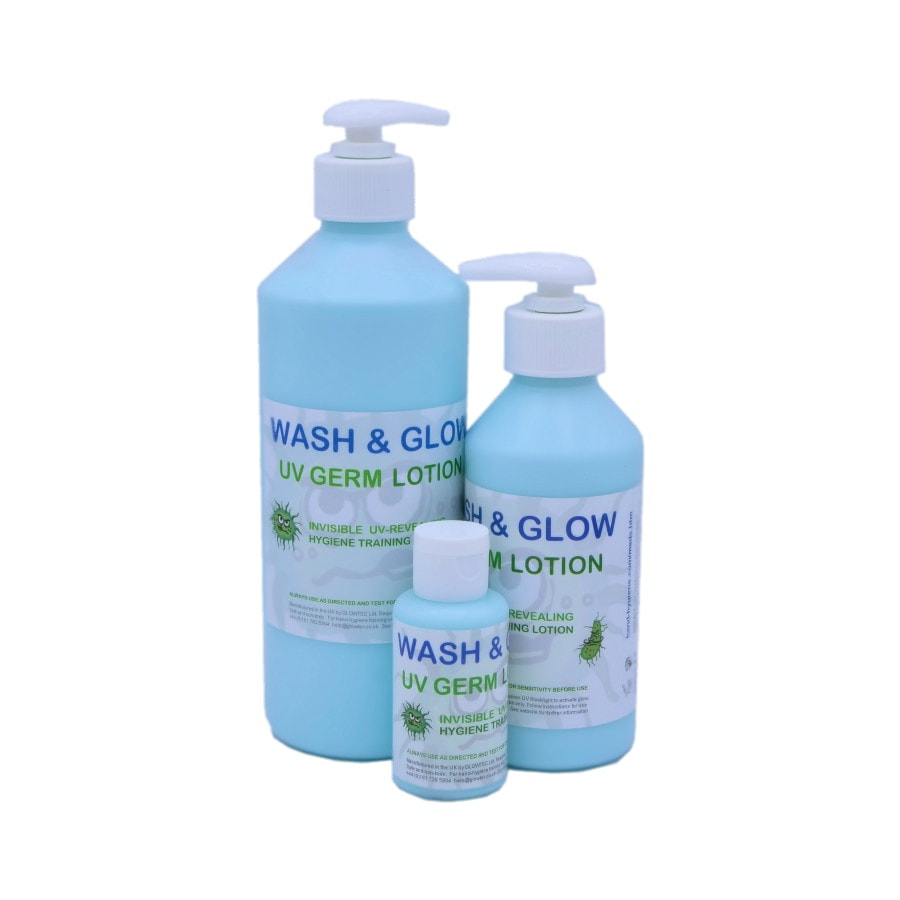 uv germ hygiene training lotion blue range
